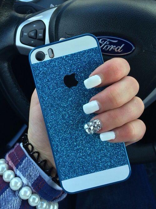 iPhone 5/5s case Blue Glitter