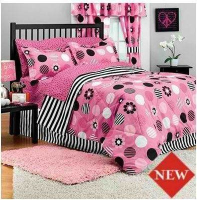 Candy Stripe Bed In Bag Comforter Set Pink Black White Polka Dot Flower Girl T F Ebay Striped Bedding Pink And Black Bedding Pink Bedding