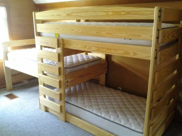 Model Of Custom solid wood triple bunk beds Kid tough & strong enough for three adults Built to order in Columbus Ohio Choose your finish style & options New Design - Luxury solid bunk beds Picture