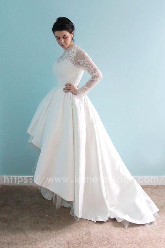 Long sleeve White Lace Dress, knee length Short Front Long Back ...
