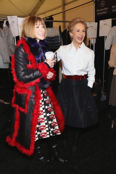 Anna Wintour in Prada chatting with designer Carolina Herrera backstage at her NYFW Fall 2015 Show.