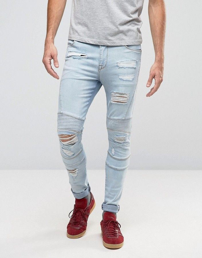 d114a6323eb ASOS Super Skinny Jeans With Rips In Biker Style Bleach Wash | Men ...