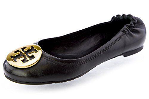 99a70f5d7 ... 50% off sale tory burch classic reva ballet flats 5 black gold cd85f  d8a3c