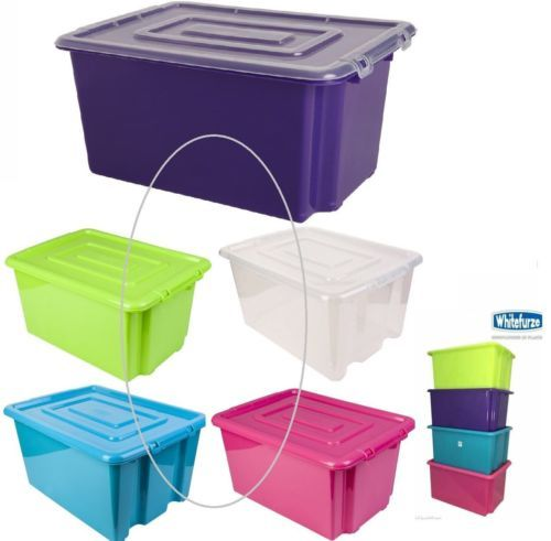 Plastic-Storage-Box-Boxes-Stackable-Tub-with-Lid-  sc 1 st  Pinterest & Plastic Storage Box Boxes Stackable Tub with Lid Handles Boxes ...