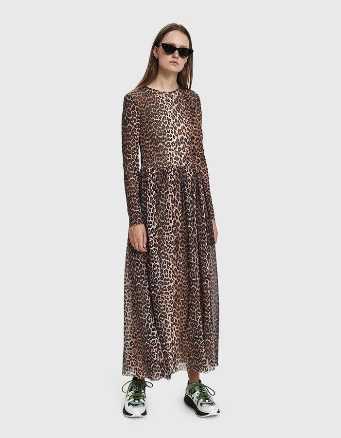 780641abc6 Ganni Mesh Maxi Dress in Leopard in 2019