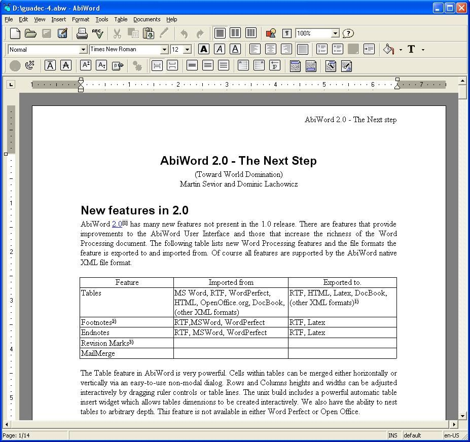 abiword is a free word processing program similar to