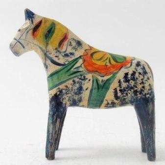 """Painted antique Swedish """"Dala horse"""""""
