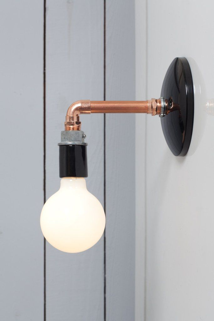 Copper pipe wall sconce light bare bulb lamp industrial light electric 1