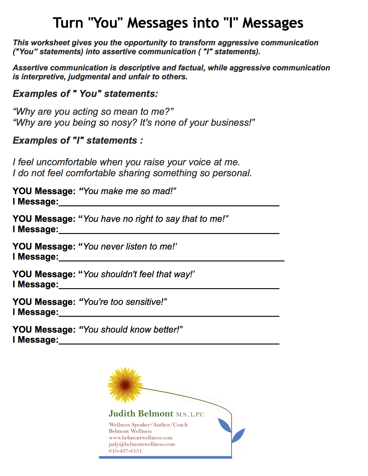 Worksheets Assertive Communication Worksheet turning you messages into i psychoeducational self coping skills