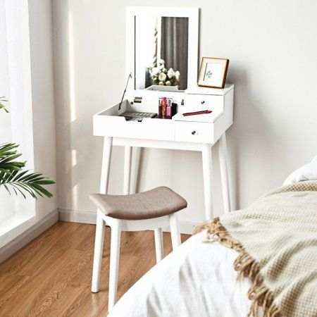 Costway Vanity Dressing Table Flip Desk Furniture Stool 2 White - Walmart.com