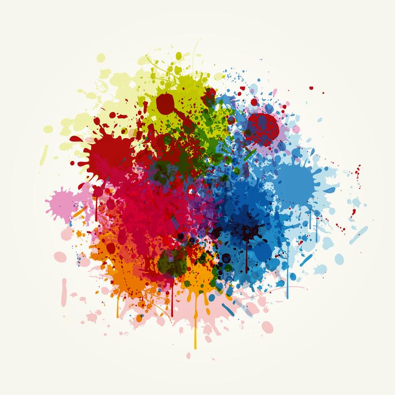 Grunge Colorida Ilustracion Vectorial Salpicar Explocion De Colores Manchas De Tinta Salpicaduras De Pintura