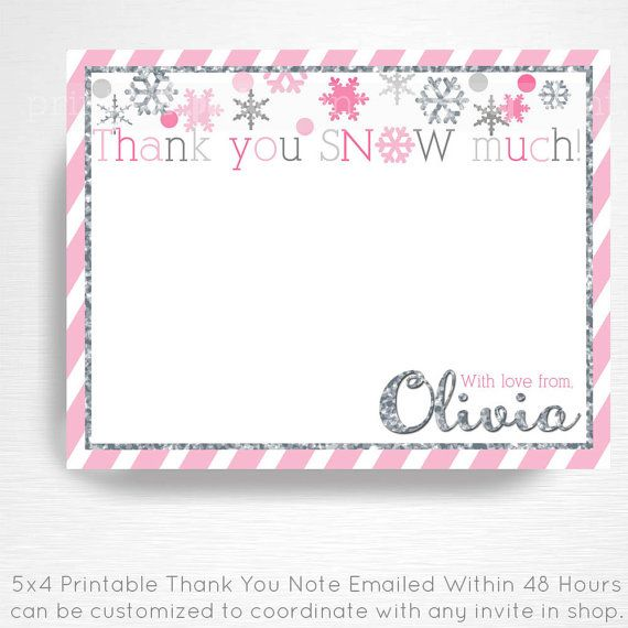 Pink Silver Winter Wonderland Winter ONEderland Birthday Digital Thank You Card YOU PRINT  This is an emailed file, nothing will be shipped to you.