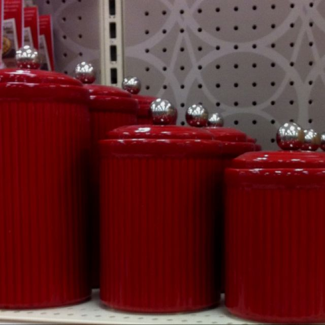love the red canisters | Red canisters, Apple kitchen decor ...