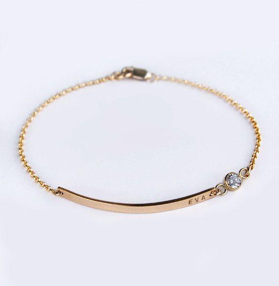 Gold Bar Bracelet Birthstone Cz Nameplate With Diamond Bridesmaid Mom Jewelry Luca