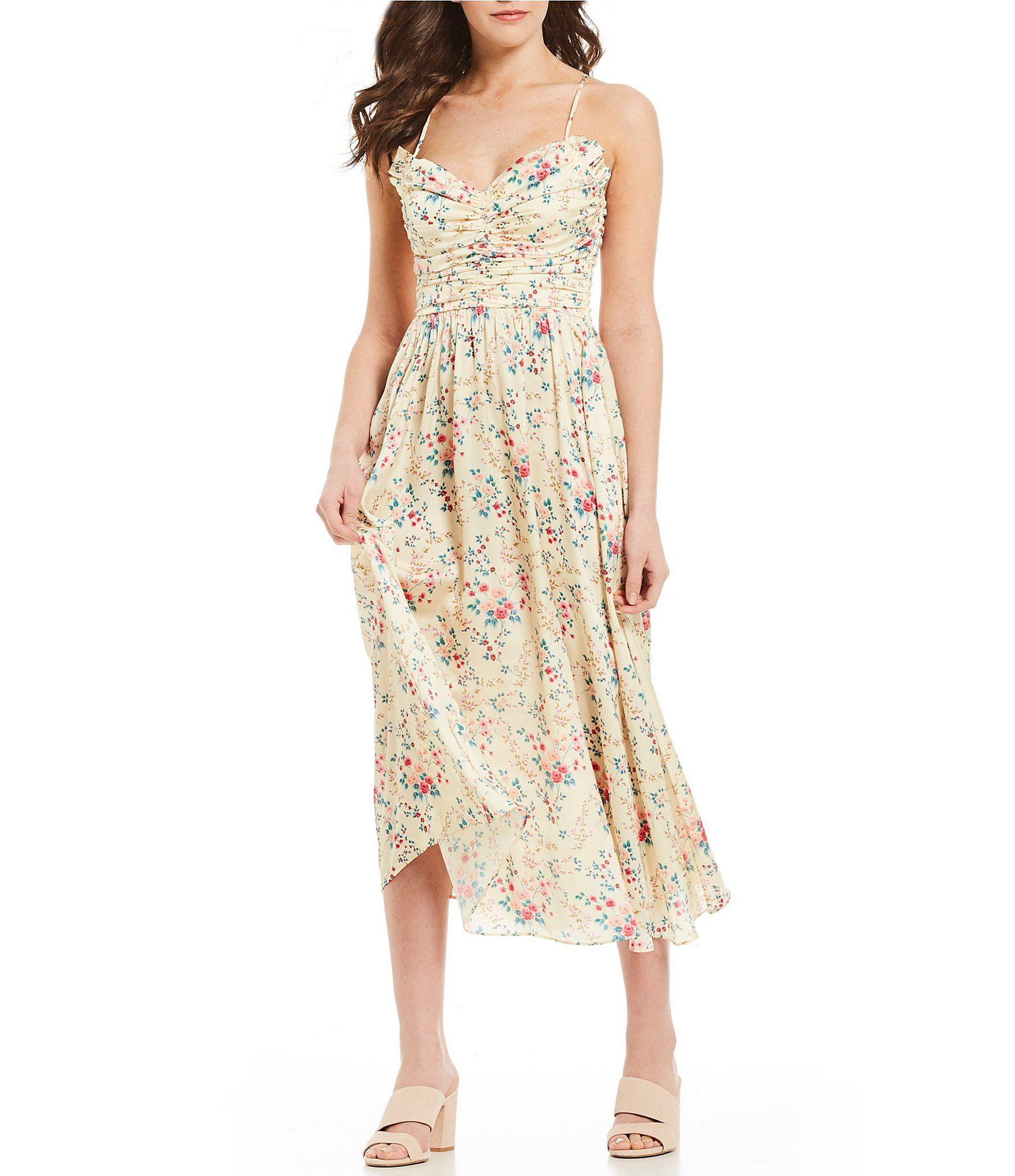 Jill Jill Stuart Ruched Floral Print Midi Dress Dillards Dresses Floral Print Midi Dress Printed Midi Dress [ 2040 x 1760 Pixel ]