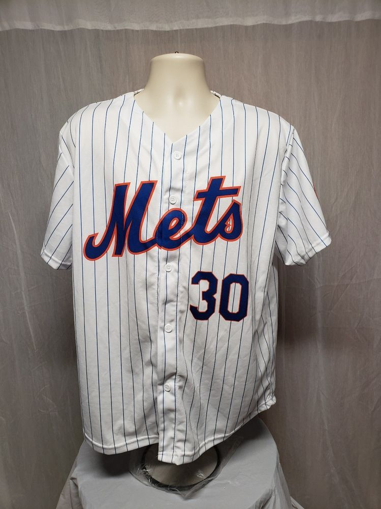 sports shoes 4d101 62f0e New York Mets Michael Conforto #30 Adult White XL Stripped ...
