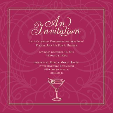 Party Invitation Cards Templates Martini Invite Burberry - invitation card formats
