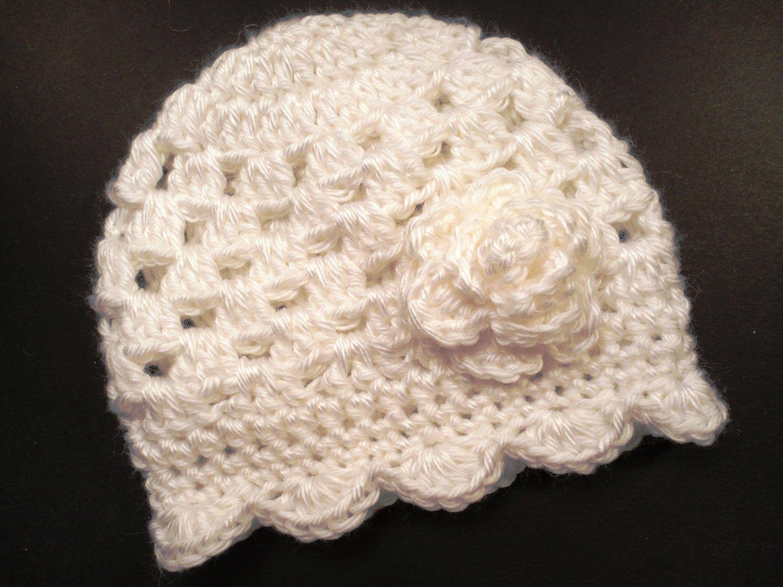 White Crochet Hat with Flower Baby Girl Christening Baptism Newborn ...