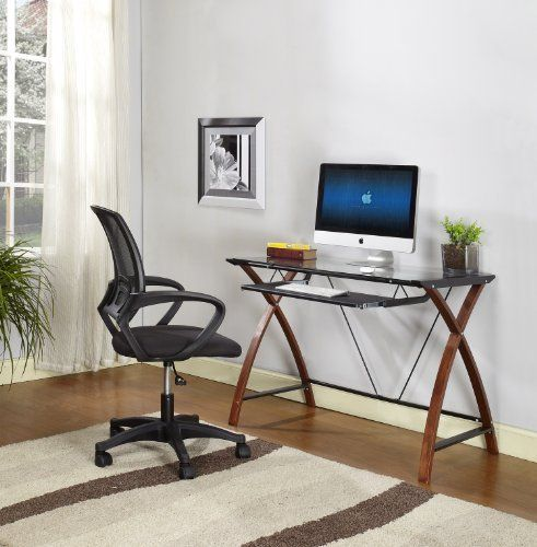 King s Brand HO2126 Workstation puter Desk with Glass Top Black