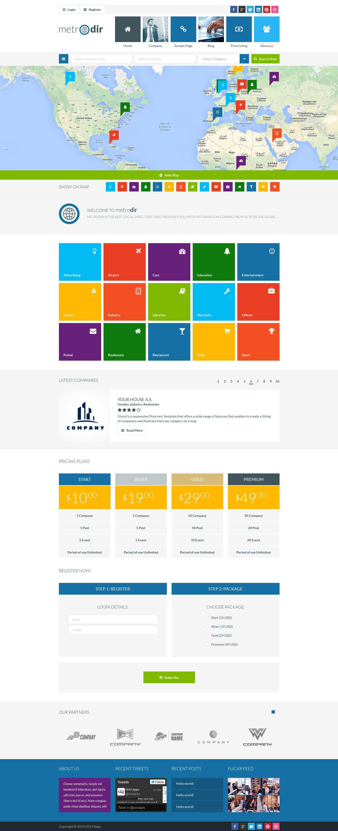 Metrodir Directory & Listings WordPress Theme portfolio social