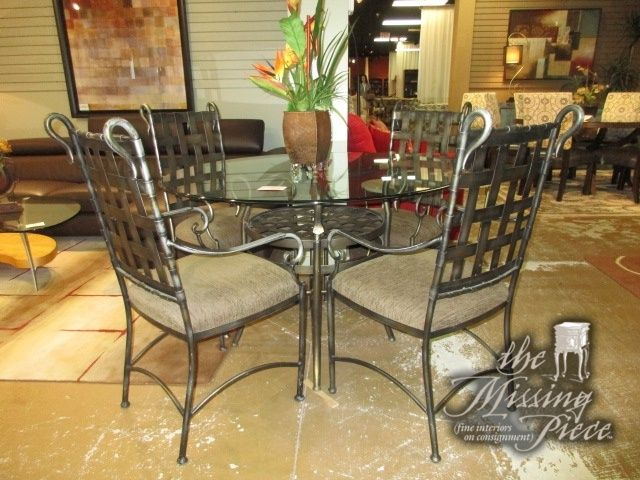 "Fresh Glass top table on a pewter metal base with four waffleback chairs 48""round Great set for a kitchen dinette or more causal dining area Photos - Popular fancy dining table set Amazing"