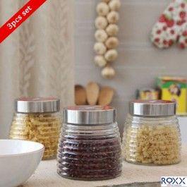 Roxx New Cascade 3 Pcs Storage Jar Set Black Containers