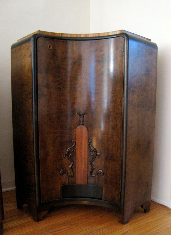 Gorgeous Art Deco Solid Walnut Corner Cabinet by HoldDatTiger