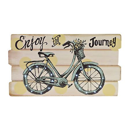 Enjoy the Journey LED Bike Wood Plank Plaque | Wall signs ... on Kirkland's Spin To Win Iphone id=64036