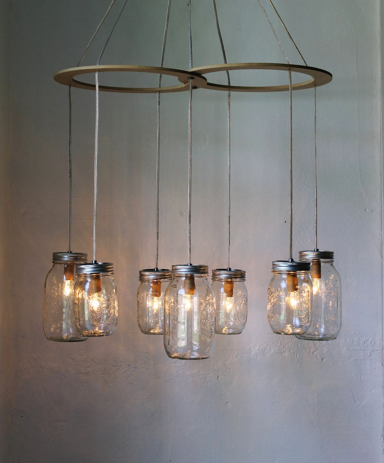 Mason jar chandelier hanging mason jar lighting fixture for Hanging lights made from mason jars