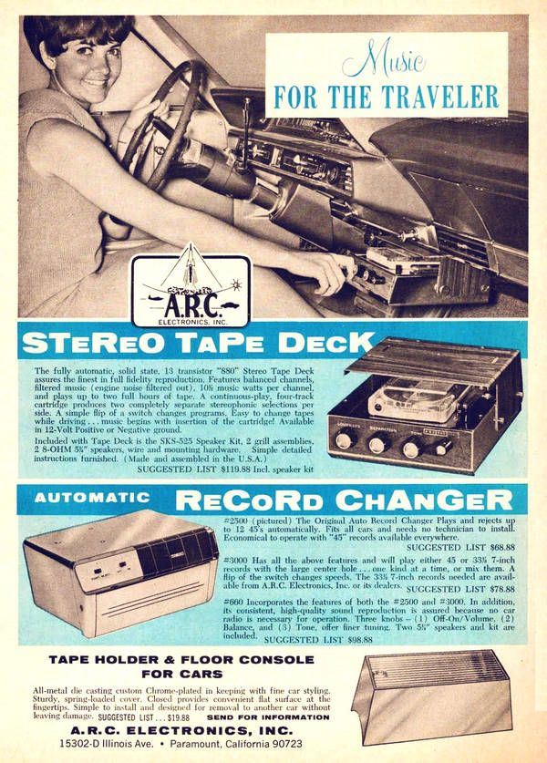 Music for the Traveler - In-car 4-track and 45 RPM record changer - A.R.C. Electronics Inc.