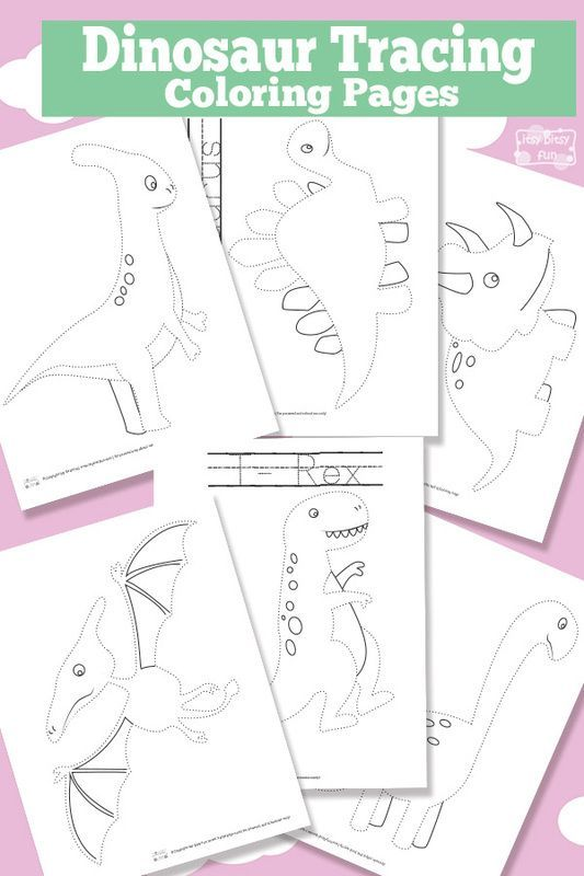 Photo of Dinosaur Tracing Coloring Pages – Free Printable #dinosaur Free Printable Dinosa…