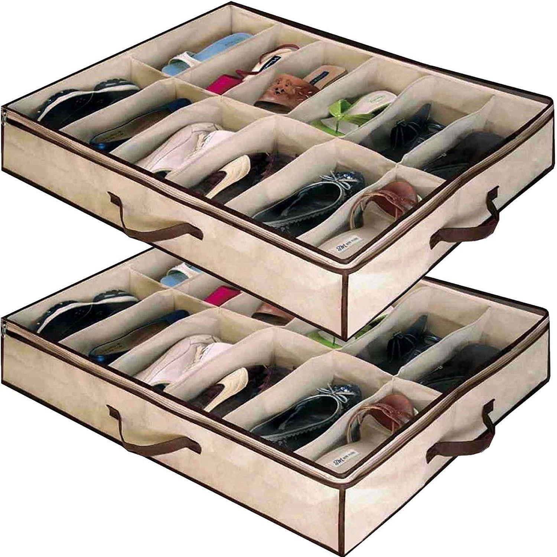 Babz 2 x 12 PAIR Underbed Under Bed Shoes Storage Space