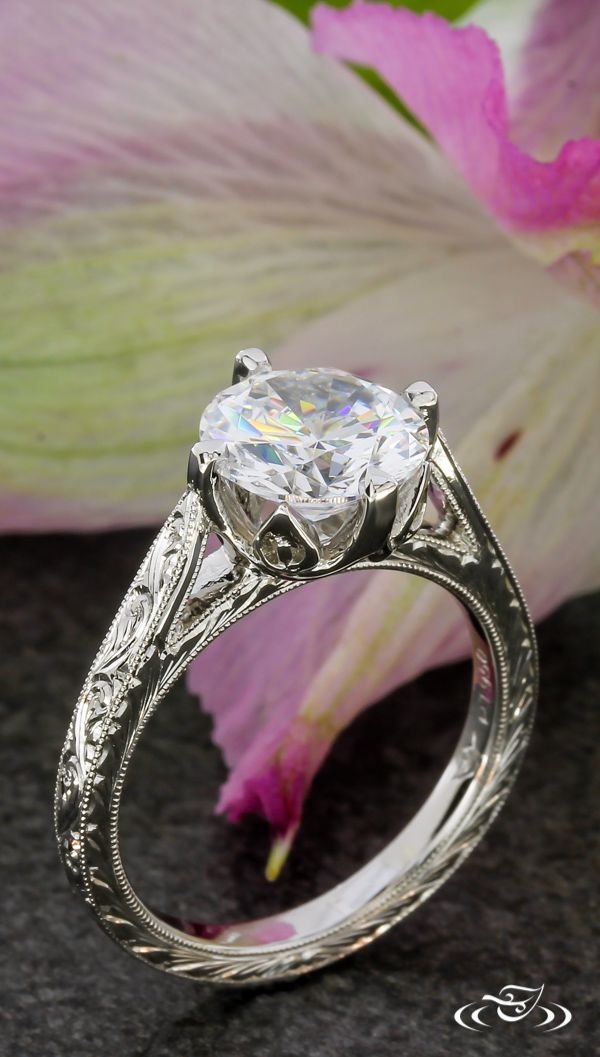 Floral Prong Antique Engagement Ring #GreenLakeJewelry