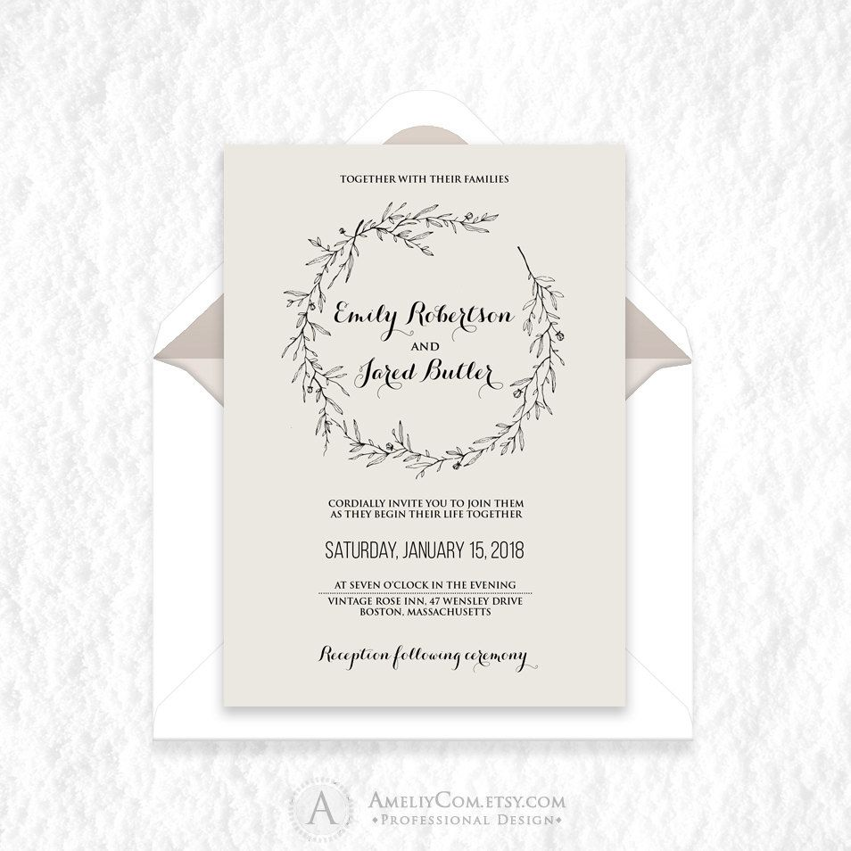 Wedding Spring Rustic Invitation Printable Natural Minimal Wedding