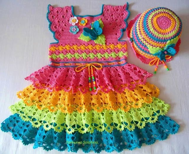 Colorful Crochet Baby Dress with Diagram - All Free Crochet Pattern ...
