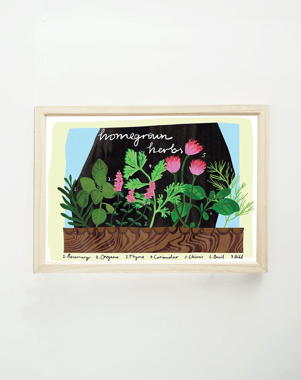 Garden herbs a print herb garden wall art herb planter herb art