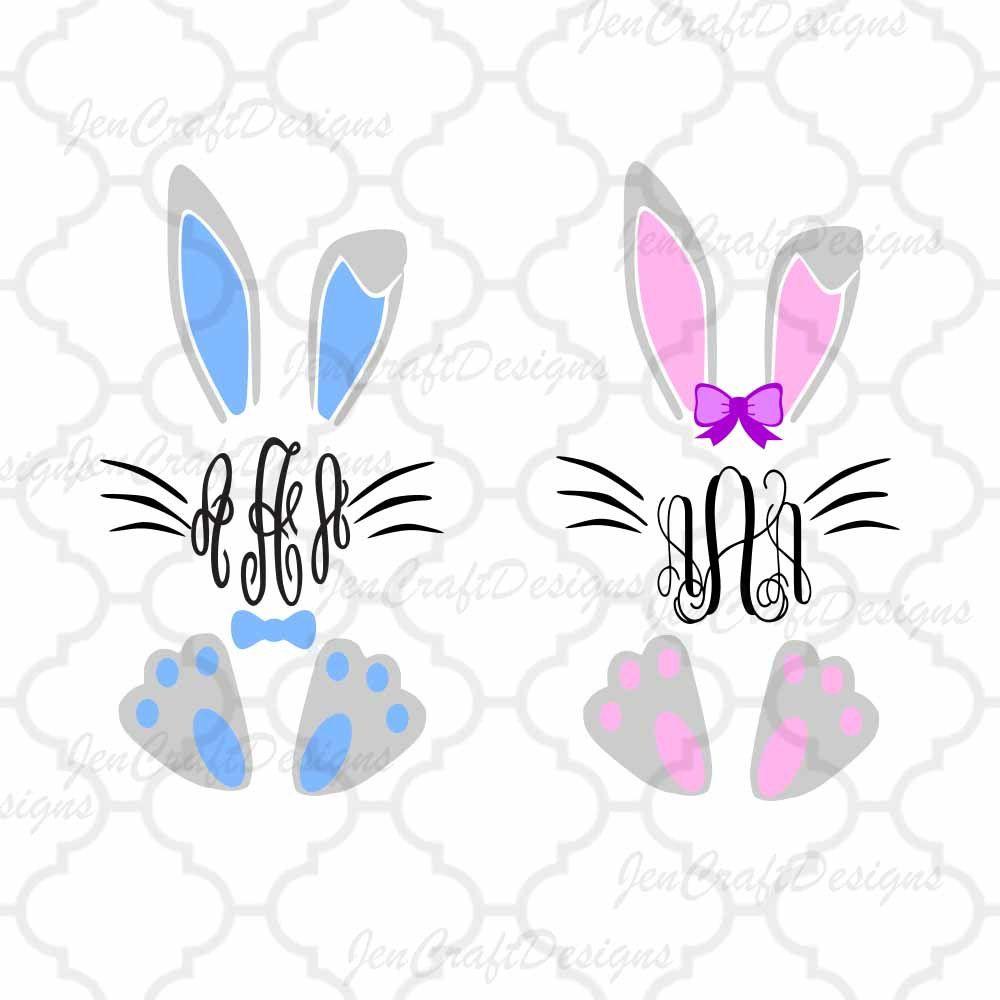 Download Easter svg, Bunny Monogram SVG Frame, Bunny Monogram Frame ...