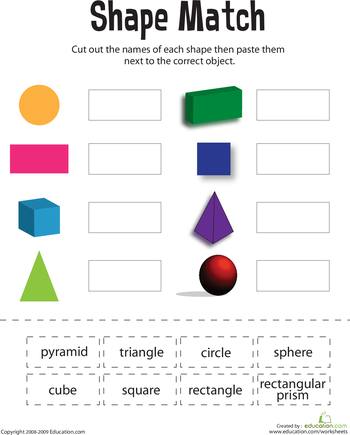 Shape Match Worksheet Education Com 1st Grade Math Worksheets Teaching Math Shapes Worksheets