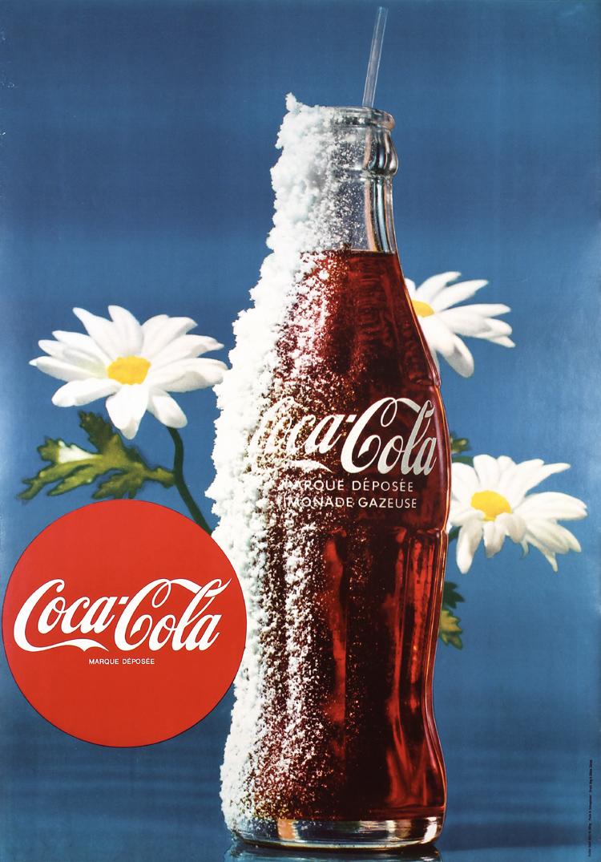 Original Vintage 1960s Coca Cola Poster Ice Bottle GREAT DESIGN