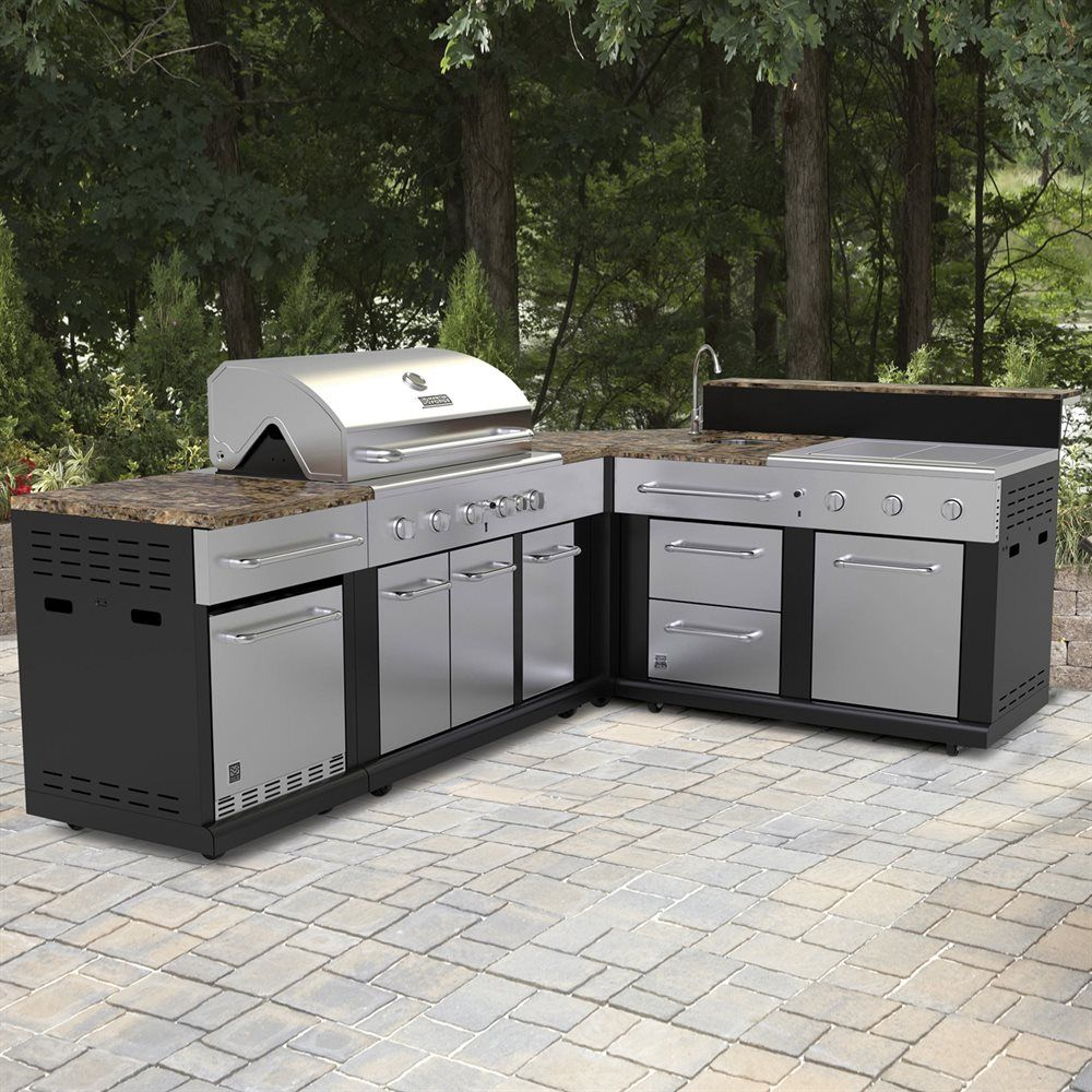 Outdoor Kitchen Wood Countertops: Shop Master Forge Corner Modular Outdoor Kitchen Set At