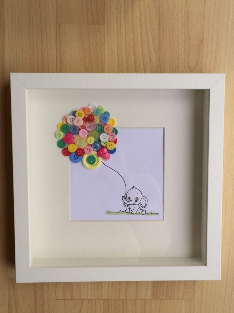 Button art picture framed lovely gift for new baby birthdays or button art picture framed lovely gift for new baby birthdays or christenings negle Choice Image