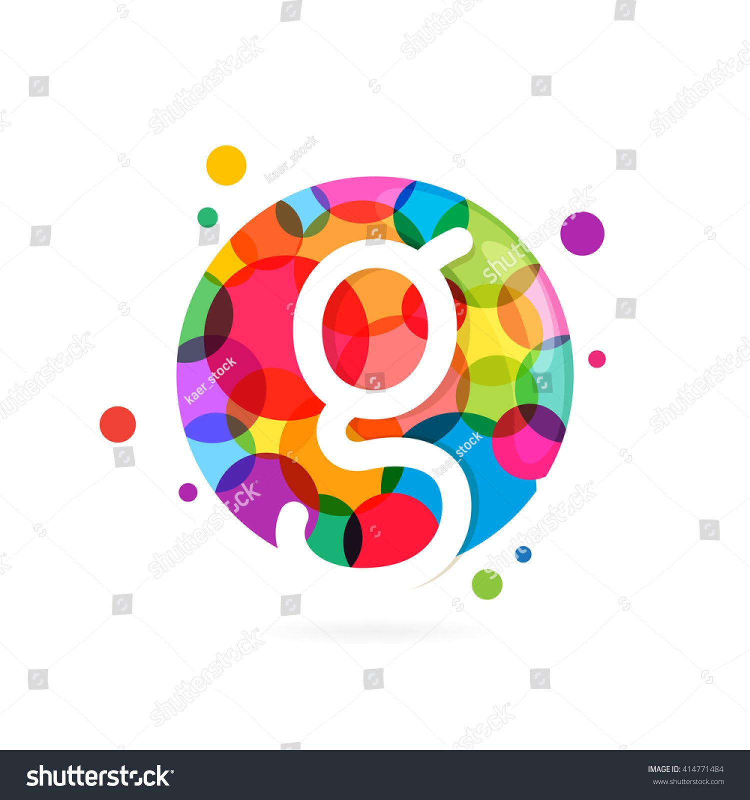 G letter logo in circle with rainbow dots Font style vector design