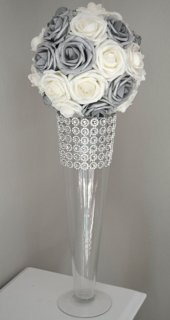 SILVER And WHITE Flower Ball, Wedding CENTERPIECE, kissing ball