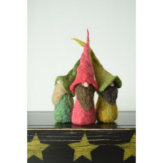 Three Mischievous Gnomes For Fun Home Decor by all4fiberarts