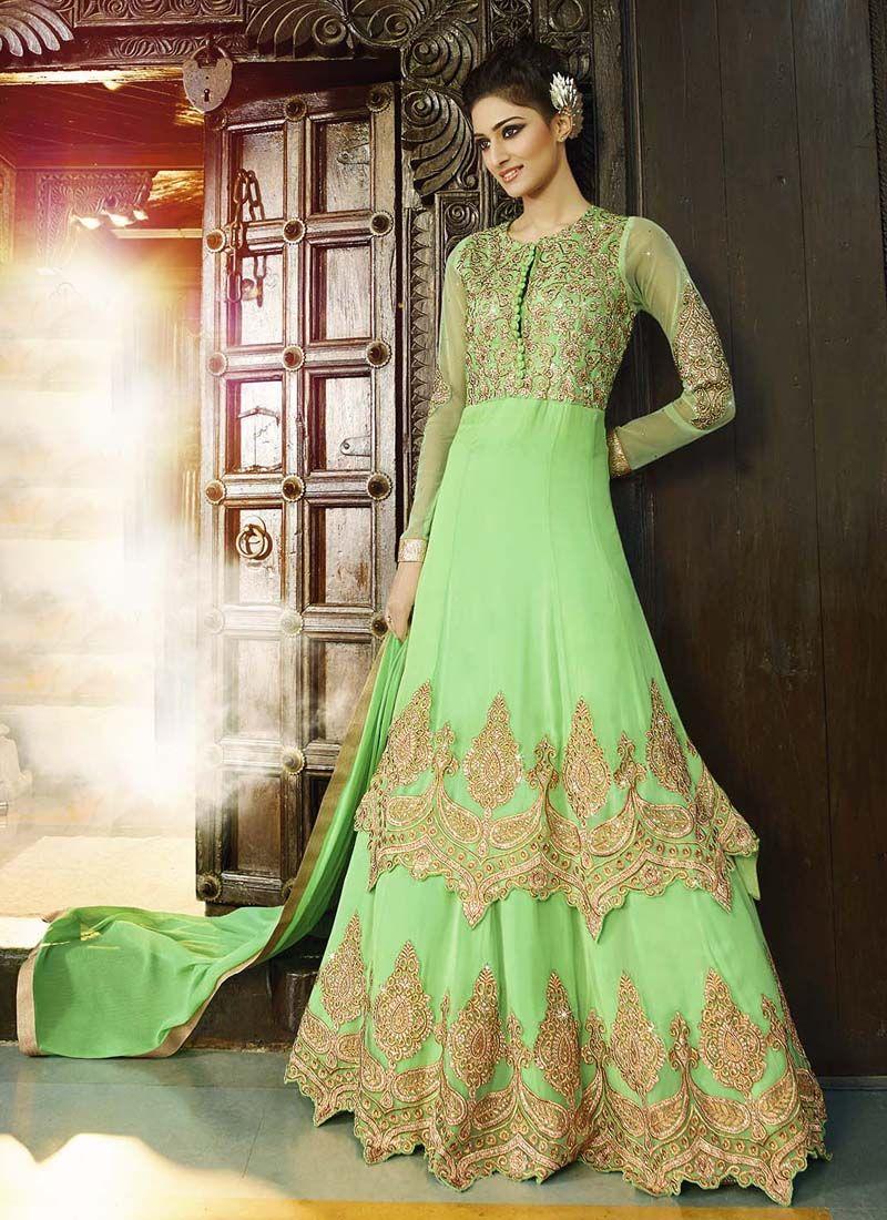 Green Georgette Embroidered Work Designer Wedding Suit Pakistani Shalwar Kameez