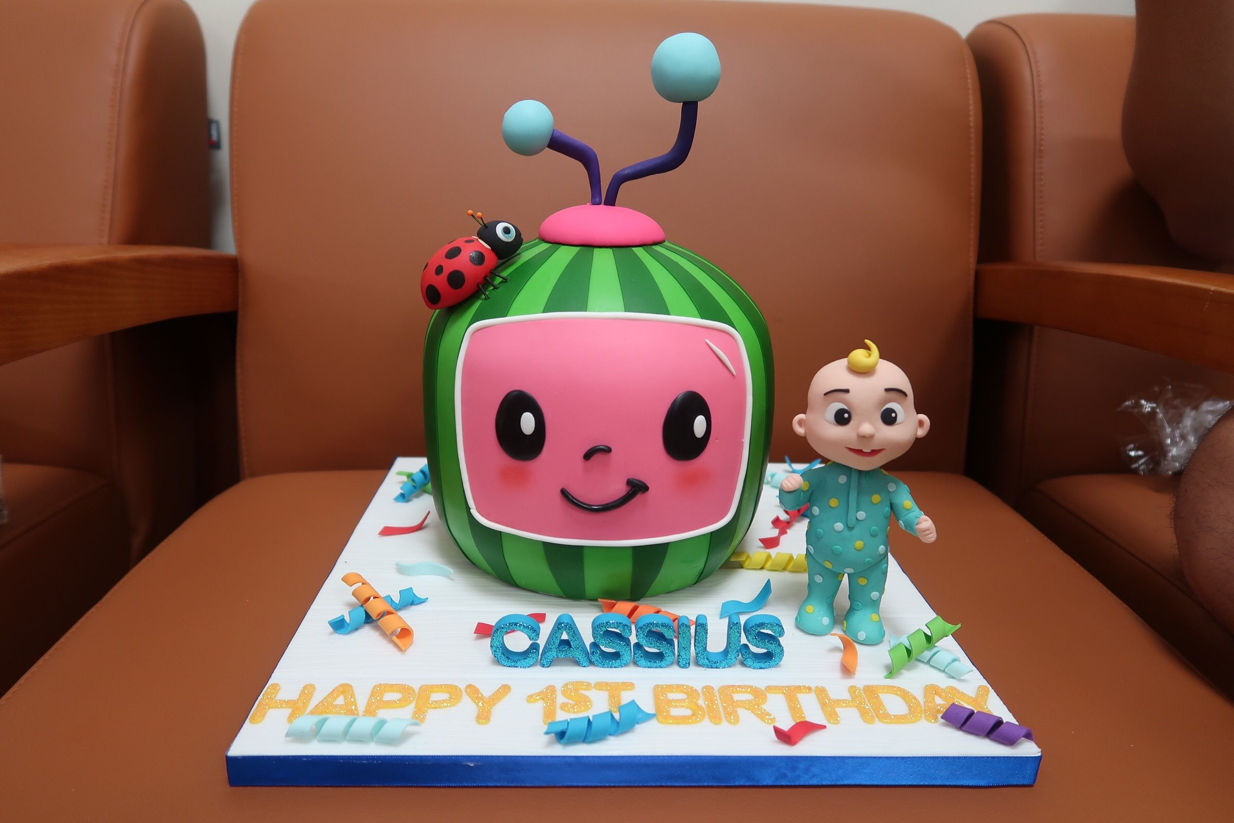 Comes with free cupcakes too!. Cocomelon Cake Baby Birthday Party Theme Baby Boy 1st Birthday Party Baby Birthday Party Boy