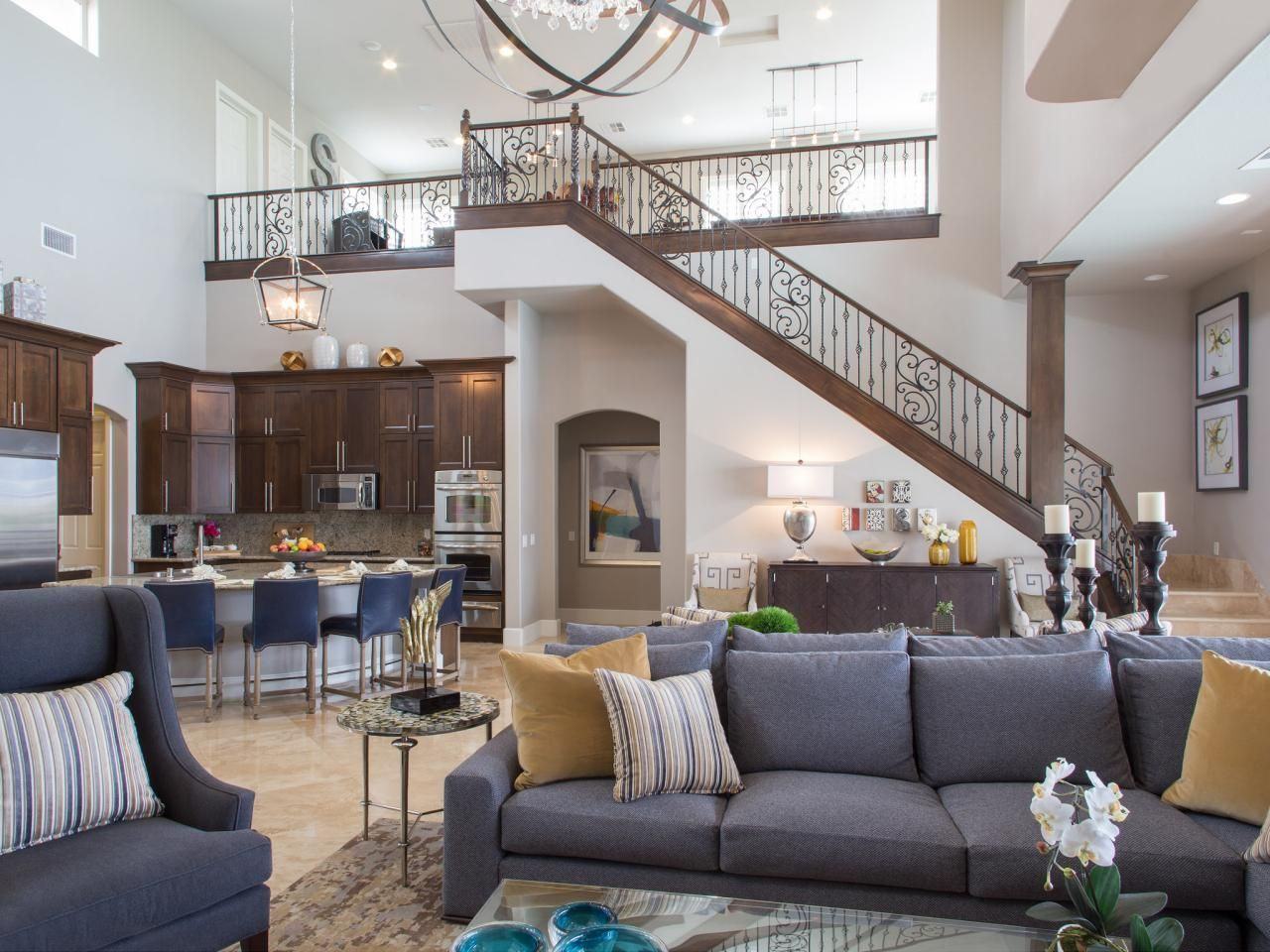 Drew and jonathan scott 39 s las vegas home features a large Two story living room decorating ideas