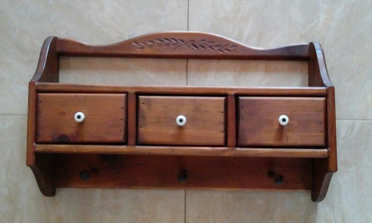 kitchen hooks ebay pin wooden drawers vintage wall and single drawer with chic unit blue shelves shabby bathroom