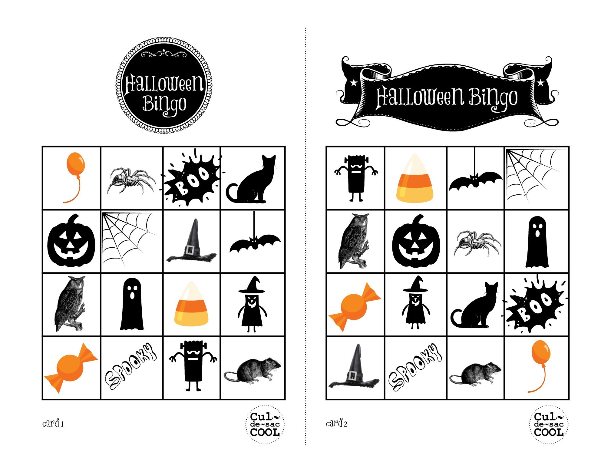 Halloween Bingo Cards 1&2 | Kindergarten Room Parent | Pinterest ...
