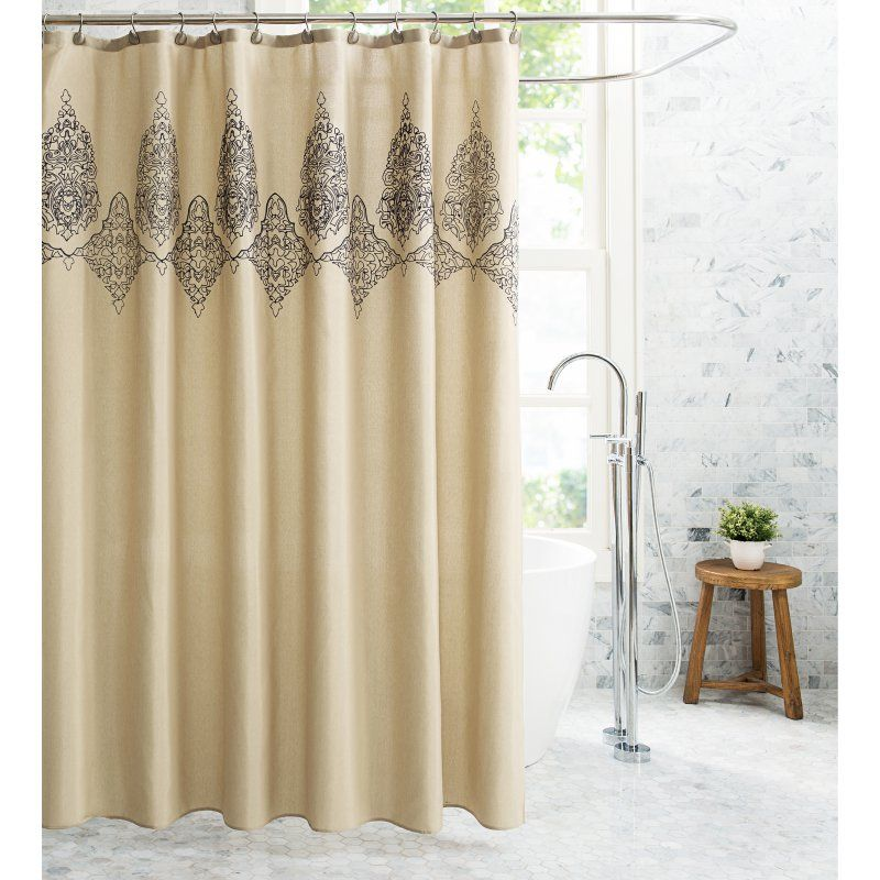Better Homes and Gardens Embroidered Damask Shower Curtain with Curtain Hooks - MED-SCS-13PC-WD-BL